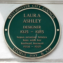 Photo of Laura Ashley and Bernard Ashley green plaque