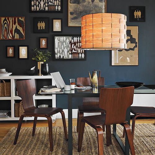 West Elm {black, white and beige modern dining room with black walls}