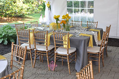 Square Table setting (DiamondEvents) Tags: wedding yellow cake silver virginia gray tent reception roanoke va chiavari sundara featured stylemepretty diamondevents