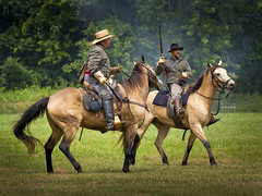 Confederate Cavalry attack (crabsandbeer (Kevin Moore)) Tags: people horse gun rifle maryland battle confederate civilwar reenactment cavalry reenactor jerusalemmills