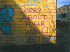 """Sorry About Your Wall"" Retro (RetroGraffiti) Tags: street blue school red orange black west green london art sorry yellow wall gold graffiti town sketch purple yorkshire mario retro holy your croft elite illegal council about dedicated yoshi keighley quaser"