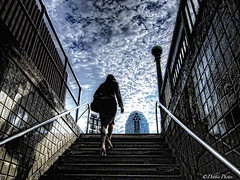 Up The Down Steps (D. Photos) Tags: nyc sky lady clouds subway steps lic debbiephotos subwaywoman womanonsteps longislandcitysubwaywoman 21ststreetsubwaystationlic citibankbuildinglic licsubwaysteps