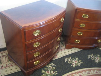 bow front mahogany nightstands