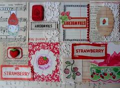 Strawberry Tiny Book (Jessica Rodarte) Tags: buttons strawberries ephemera tinybook dennisonlabels