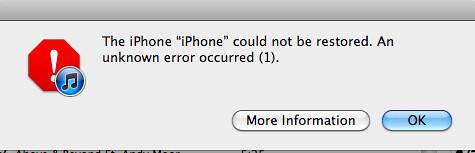 Error 1 iTunes
