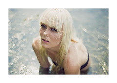 sea-sick. (schaharazad) Tags: blue lake seaweed water sunshine hair model eyes heather blonde wilson freckles swimsuit