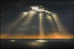Divine Encounters (adrians_art) Tags: sky cloud reflections coast bravo rays eastsussex lightbeams beachyhead horizons seawater