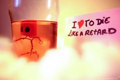 die like a retard (GordanMes) Tags: camera pink light shadow red en blur love glass rose metal clouds painting de rouge photo al bottle wire funny die comic power wine lumière cigarette like fil style mini cigar coton story cap amour strip alcohol hate histoire vin doggy nuages chanel liege blanc minimalist cigare retard fer bonhomme minature appareil verre oeufs oeuf capone bouchon caracter bande parfum haine egges scène mise puissance dessinée papirer hummour
