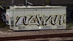 Nekah (Alex Ellison) Tags: urban graffiti tag onetime trackside joak northlondon neka 1time 1t nekah