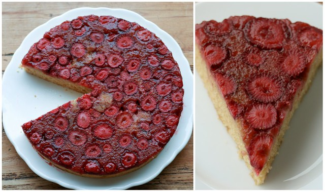 ... some straweberries and make this precious strawberry upside-down cake