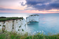 Sunrise over Old Harry Rocks (ryme-intrinseca) Tags: ocean sea seascape sunrise coast chalk cliffs unesco worldheritagesite dorset swanage jurassic stacks oldharry