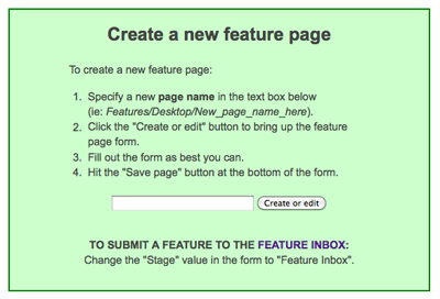 Create a new feature page