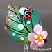 Single bead : Green Leaf & Pink Blossom Flower Ladybug