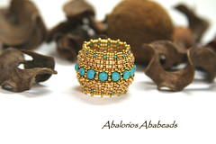 Chinatsu Mille Estati (AbaBeads) Tags: gold beads seed 24 kt anillos sortija delicas turquesas