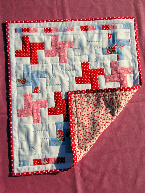 gifted doll's quilt showing backing
