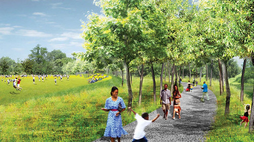 conceptual rendering, East Side Trail and adjacent park (by: ABI via Your Guy for That, Dustin Drabot)