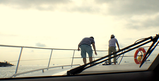 The blokes exploring the yacht