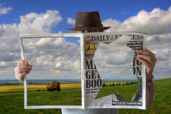 Whats in the paper today? (Nikonsnapper) Tags: portrait sky news art hat clouds self landscape 50mm newspaper nikon magritte explore 16 nikkor greatphotographers supershot d700 project36612011