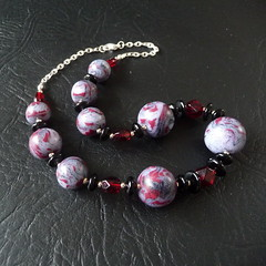 Red black polymer clay necklace (bycreativehands) Tags: shopping necklace handmade unique polymerclay fimo gift buy sell folksy