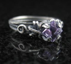 Oxidized Amethyst Princess Cut Ring (AshleighAnnette) Tags: wire hand ring made oxidizedsilver sterlingwirejewelry facetedamethystring raw523prongsetwirering
