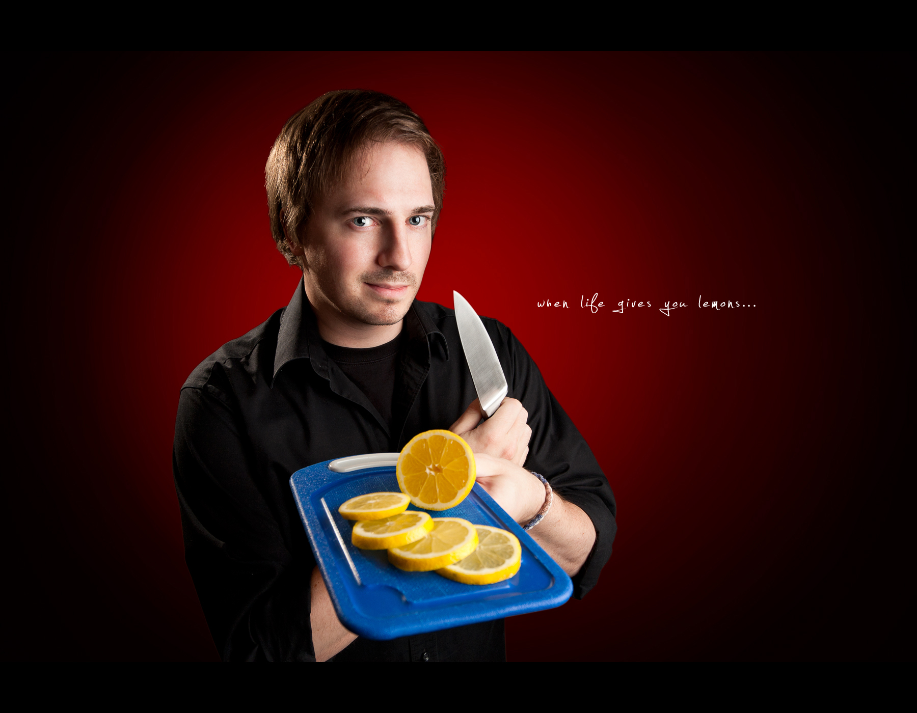 Project 365, Day 358, 358/365, Self Portrait, Strobist, lemons, knife, slice them, on black, westcott 28