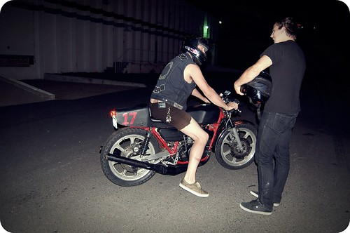 ian on brodeo's motorcycle.