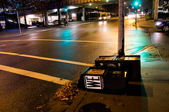 knocked over (chrisyakimov) Tags: street wet night pavement vgh georgiastraight knockedover westender paperboxes vancouvergeneralhospital