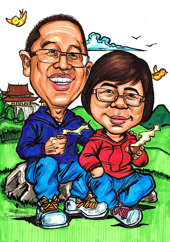 Couple caricatures relaxing on mountain