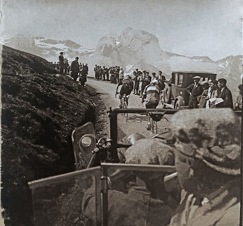 The Tourmalet stage from Pau to Luchon was one of the toughest of the 1930 Tour. Two riders were alone over the two major climbs, André Leducq and Benoit Faure, who won the King of the Mountains on both the Col d'Aubisque and Col du Tourmalet. This image shows these two riders on the Col d'Aubisque before the final climb over the Tourmalet. Leducq won the leader's jersey on this stage and held it to the finish in Paris on the July 27. Photo: Cycling History Collection