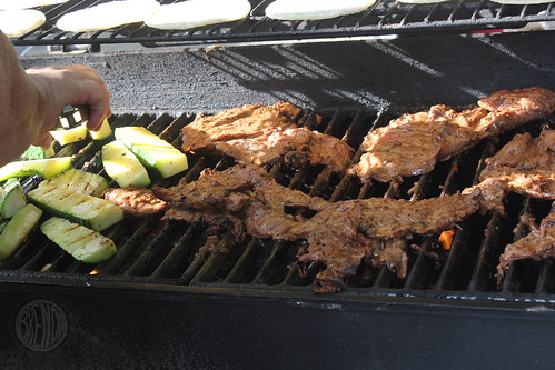 carne asada and zuchini on the grill