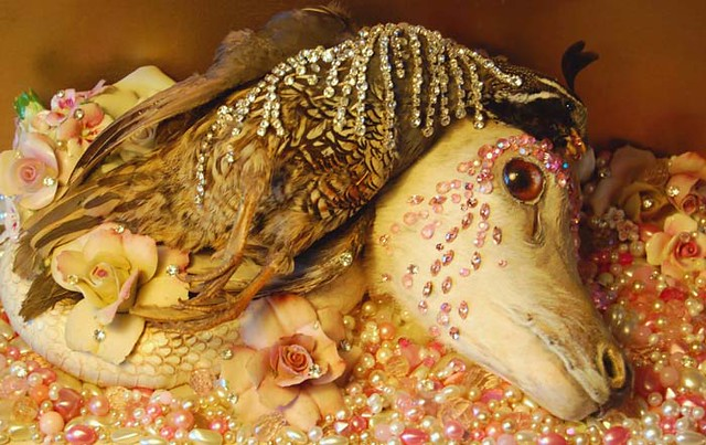 Violante, 2011, Angela Singer--a fawn, snake, and quail lying together on a bed of beads