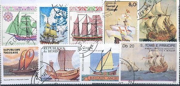 25 rôznych známok lode, plachetnice