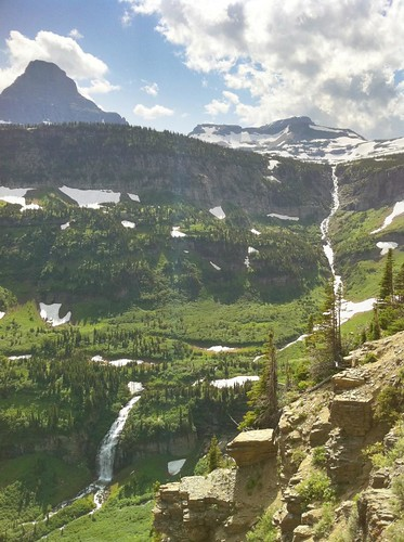 Waterfalls below Logan's Pass in Glacier National Park, Montana