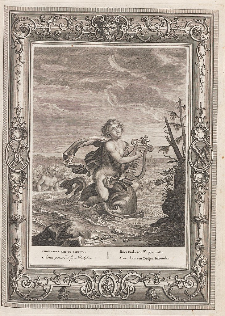 lyre-playing person rides on stylised fish in the ocean (engraving)
