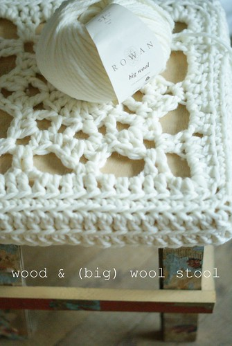 wood & (big) wool stool