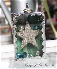 "Soldered trinket box ""Sparkling star"" (Boxwoodcottage) Tags: glass silver star beads 3d mercury box cut turquoise charm pendant lid trinket soldered boxwoodcottage glitteres"