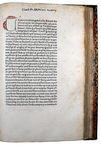 Decorated initial in Honorius Augustodunensis: De praedestinatione et libero arbitrio