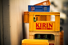 Kirin by the Crate (Fesapo) Tags: beer yellow japan canon prime dof bokeh 7d shimane kirin  matsue crates   135mmf2l