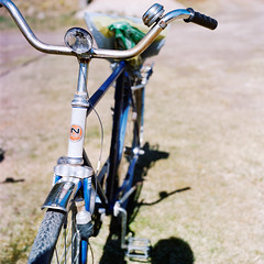 Bicycle (perminna) Tags: blue color 120 6x6 tlr film bike bicycle spring iso400 may kodakportra400vc twinlensreflex yashicamatem epsonv700 nopsa yashinon80mmf35