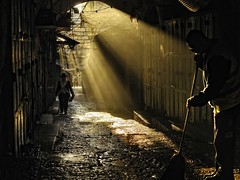 Here comes the Pious: Sacerdotalism in Jerusalem (David Mor) Tags: morning light pavement jerusalem alleyway sunrays  gerusalemme splendor jerusaln   whitewing ierusalim   hierosolyma bestcapturesaoi elitegalleryaoi  ringexcellence orthodxpious