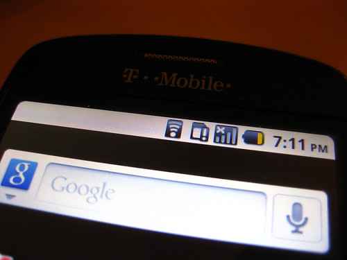 Android (CM6) Notification Bar and Google Search Widget on Rooted HTC Magic 32B