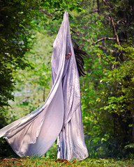 (Whitney S W) Tags: trees red woman strange mystery female forest silver hair flow moving long magic nail polish odd nails fabric fantasy figure mystical cloak form flowing bizarre draped whitneyswilliams