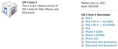 iOS 5 Beta 3