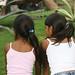 Duas irmas curiosas com as iguanas