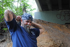 black bandana million miles (tintyper) Tags: homeless streetportrait hobo panhandling underbridge homelessman pleasehelp homeguard ftra freighttrainridersofamerica freighttrainrider