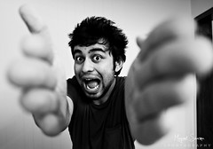 My giant swollen hands :O (Mayank Sharma renewed :D :D) Tags: bw india selfportrait home me face up canon hands funny kill close delhi scream mayank