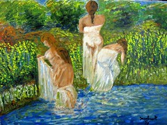 Bathers (Il colorista) Tags: summer nature water river women estate fiume natura donne acqua bathers impressionisti bagnanti iacolino