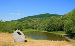Devin Floody Lake with Sculpture (johan.pipet) Tags: blue trees sky lake green water forest canon devin spring europe greenwood jar slovensko slovakia palo bratislava devinska bartos krajinka barto