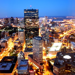 Downtown Boston (cfloryan) Tags: from city summer urban tower boston skyline night skyscraper buildings john square ma lights evening long exposure downtown view bright top district massachusetts towers july center aerial interstate turnpike hancock common financial copley prudential