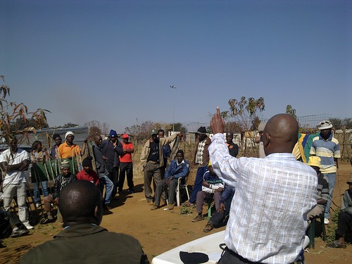 Patrick Magebula addressing the community of Meriteng